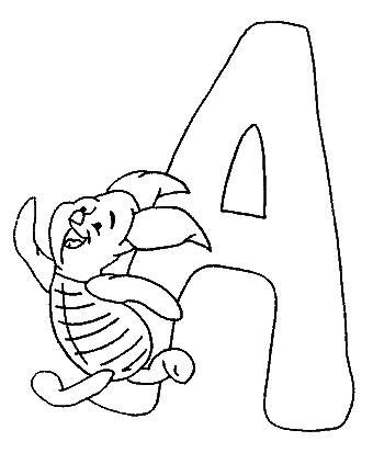 Coloring pages winnie the pooh alphabet 1 ABC ♥ POOH