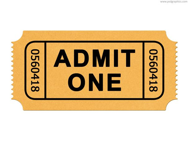 Admission Ticket PSD Template And Web Icon. Admit One Generic Ticket, Movie  And Cinema  Blank Admit One Ticket Template