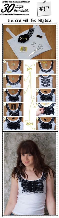 DIY 30 DAYS 30 TEE-SHIRTS : #17 with ruffles of lace - Clones N Clowns by Aimee Wood