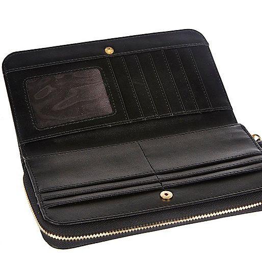 Black RI embossed zip around purse - purses - bags / purses - women