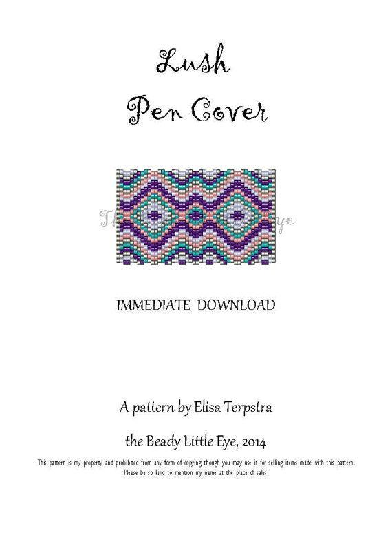 Peyote Pattern Peyote Stitch Beaded Pen Wrap Cover Beading Pattern Lush Pen Cover Pattern