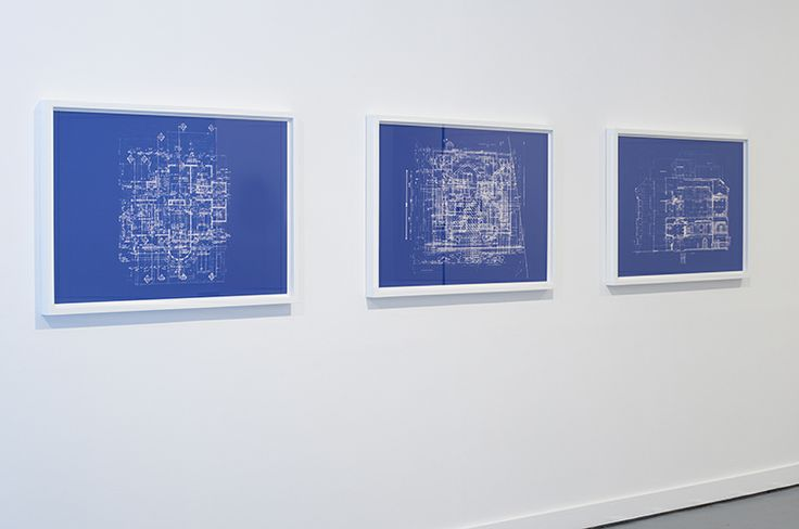 Valérie Kolakis | Blueprints for an Unbuilt House | 2012 | Cyanotype blueprints | 67.5 x 98 cm (framed) — at FOLD Gallery London.