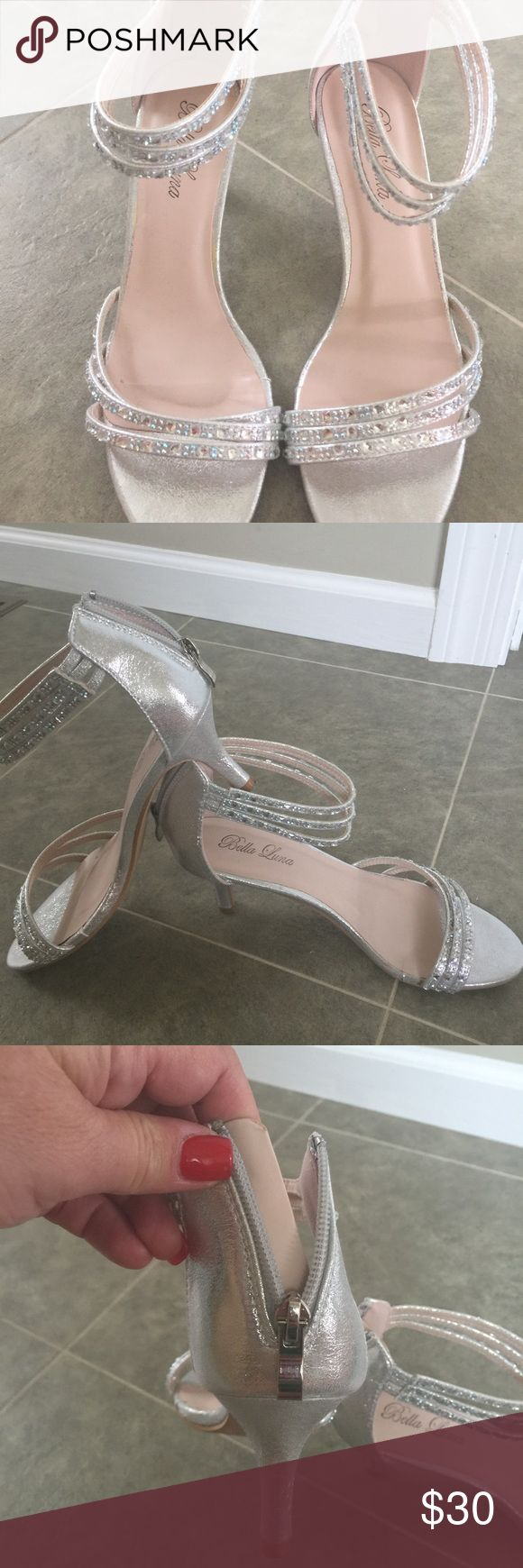 Silver sparkle dressy sandals! Wore one time! I wore once to my wedding in Vegas! Very comfy and short heel! bella luna Shoes Heels