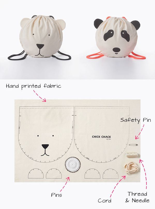 kid's drawstring backback bag kit