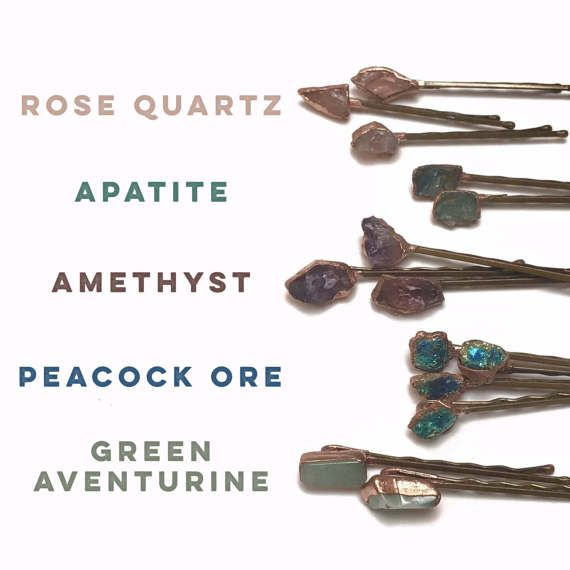 Raw Stone Hairpin // Raw Crystal Bobby Pin // Bridal Hair // Gemstone Hair Accessory // Amethyst Quartz Aventurine Apatite Peacock Ore  An amazing hand selected stone has been set on a hair pin transforming it into an amazing, one of a kind hair accessory. Each stone in unique so please allow for variations between pieces. Choose between: Amethyst, Apatite, Rose Quartz, Green Aventurine, and Peacock Ore. Regardless of your selection, your accessory game...