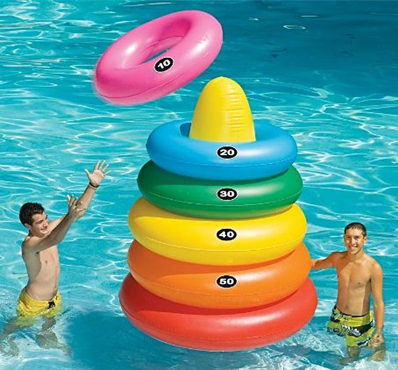 No Diving Allowed, But There's Giant Ring Toss - pool inflatable game for kids and adults - summer fun