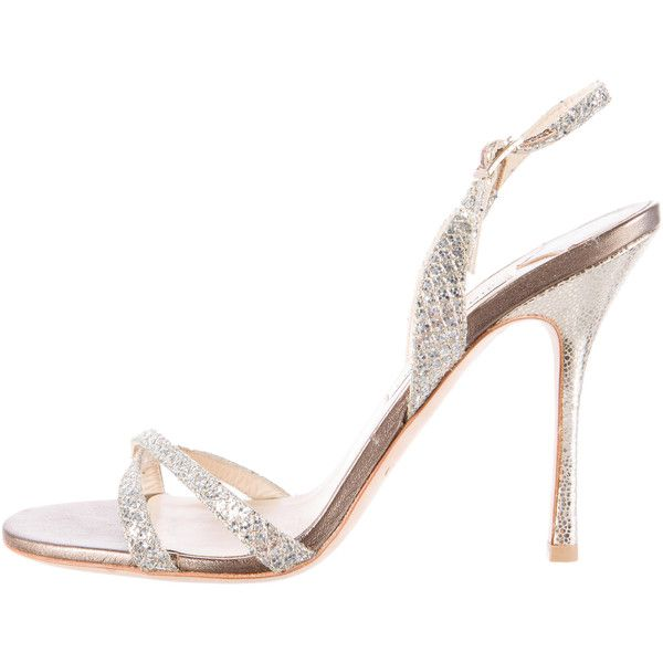 Pre-owned Jimmy Choo Glitter Evening Sandals ($125) ❤ liked on Polyvore featuring shoes, sandals, silver, silver special occasion shoes, silver evening sandals, silver evening shoes, silver glitter shoes and strappy sandals
