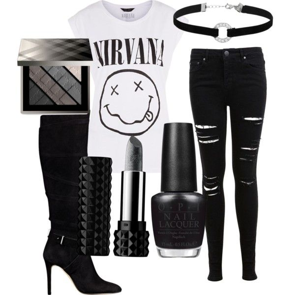 GOTH by rowniezhao on Polyvore featuring polyvore, fashion, style, Miss Selfridge, GUESS, Burberry, Kat Von D and OPI