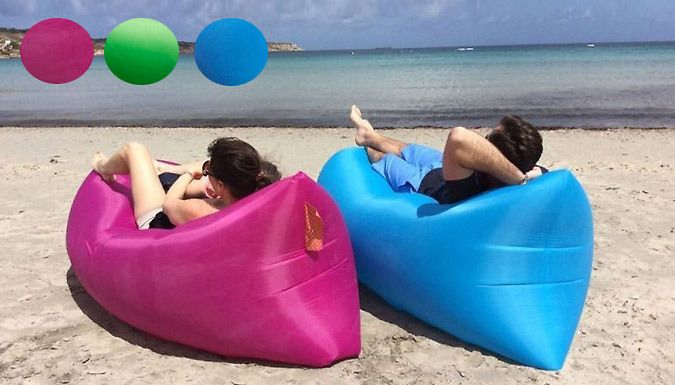 Fast Inflatable Air Lounger - 3 Colours Festival? Beach? Park? Lounge in style with theFast Inflatable Air Lounger      Quick to inflate, easy to transport, and comfy to lounge in      Use a gust of wind or swoosh from side to side to fill up with air      Close the seal clasp to trap the air - no pump required.      Folds down into a pull string bag so you carry it with ease      Available...