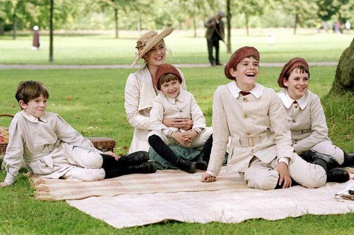 Joe Prospero, Nick Roud, Freddie Highmore, Luke Spill and Kate Winslet in Miramax Films Finding Neverland (2004)