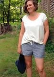 "PDF Pattern: Ladies Getaway Shorts sewing pattern by Pattern Emporium Sizes 6-22 (AU sizes) from 85-125cm seat (33.5-50.5"") Pattern shows both cm & inches Pictured: linen fabric, front & back pockets, enclosed waistband, mid rise, short length."
