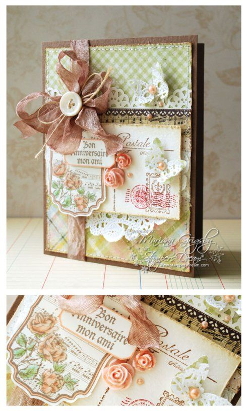 wow! gorgeous shabby chic card, Mariana! amazing details and such yummy colors! love love love this!