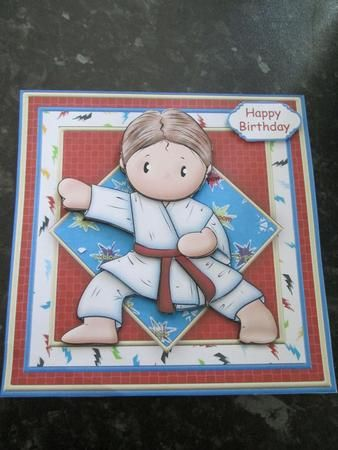 KARATE ANDY Card Topper and Decoupage on Craftsuprint designed by Janet Briggs - made by Anne-marie wheeler -