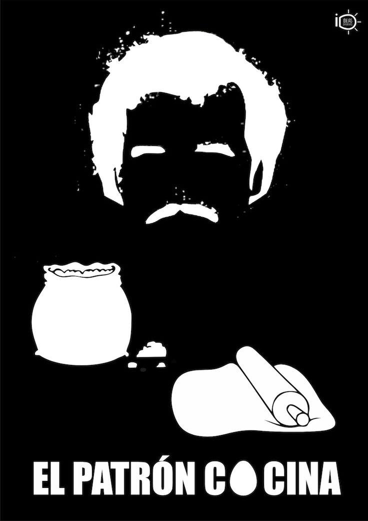 Pablo Escobar, el patrón, invade também a cozinha nesta inteligente e divertida arte da artista Camila Lima.
