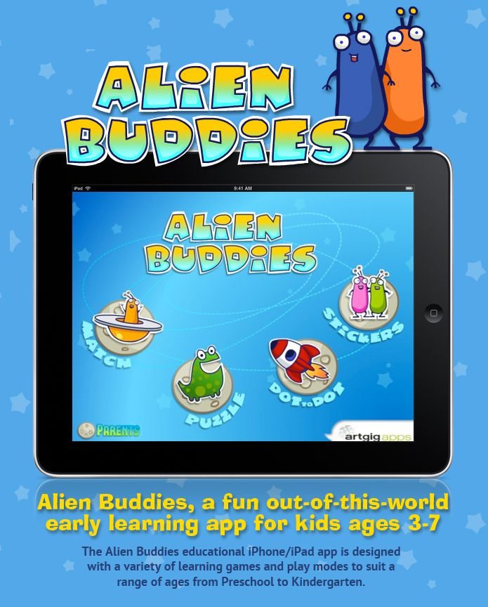 Alien Buddies, a fun out-of-this-world early learning app for kids ages 3-7    The Alien Buddies educational iPhone/iPad app is designed with a variety of learning games and play modes to suit a range of ages from Preschool to Kindergarten.