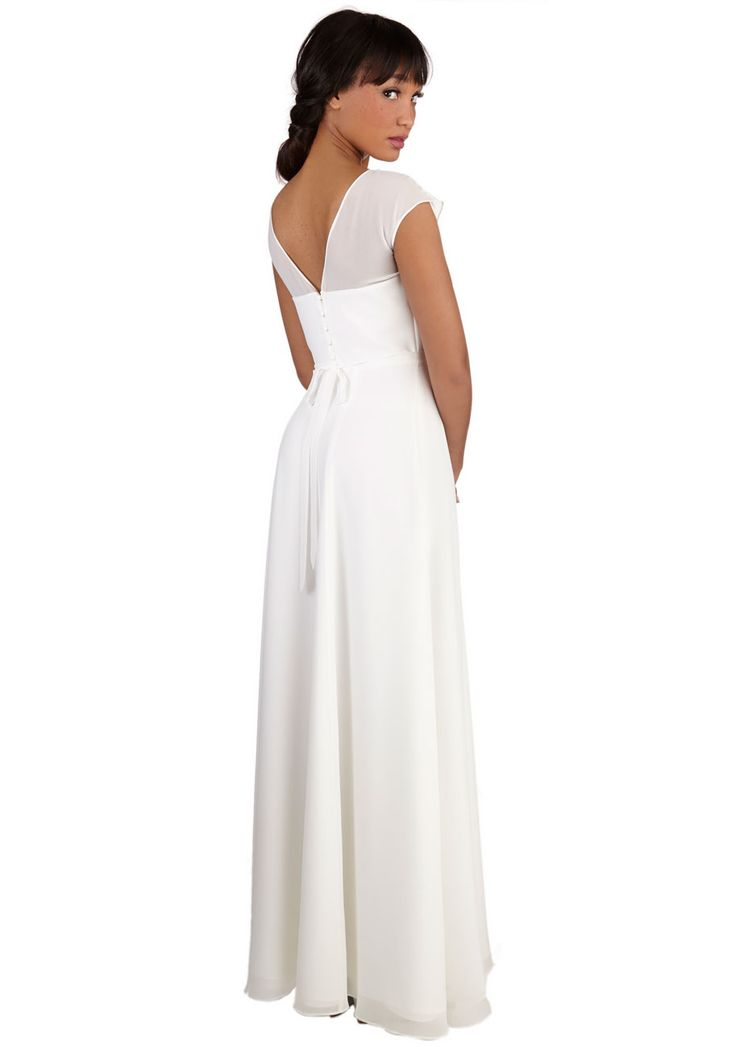 Just Sway the Word Dress. Whenever youre ready, the aisle is waiting for you and your white gown - a breathtaking ModCloth exclusive! #white #wedding #bride #modcloth