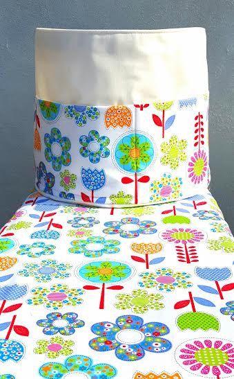 SCANDINAVIAN FLORAL BASKET 5 Pockets Bag Round Ironing Cloth Laundry Cotton Storage Organiser Scandinavia Handmade Fabric Birthday Gift