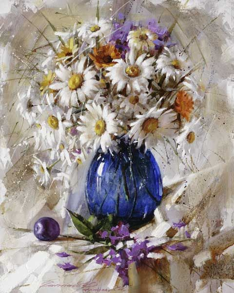 Gappasov Ramil.  daisies in blue glass  oil 50cm x 40cm