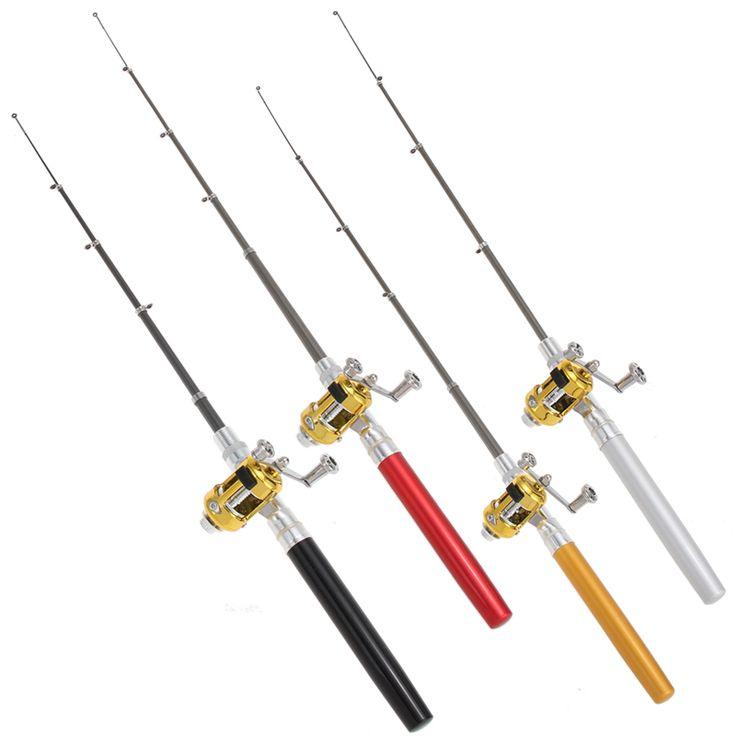 Fishing Rods  Free Shipping Mini Portable Pocket Fish Pen Aluminum Alloy Fishing Rod Pole Reel Wholesale H1E1