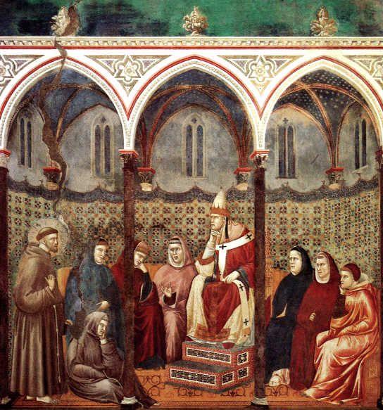 GIOTTO, Predica davanti a Onorio III Basilica di San Francesco, Assisi 1290-95 (ciclo di Assisi) affresco