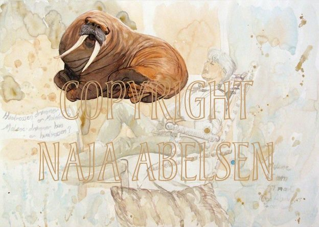 The Walrus dreams Malene - Malene Dreams the Walrus. Watercolour by Naja Abelsen. Original for sale. HUMANIMAL - www.123hjemmeside.dk/NajaAbelsen. Available as A3-photoprint 400 DKK / 54 Euro.
