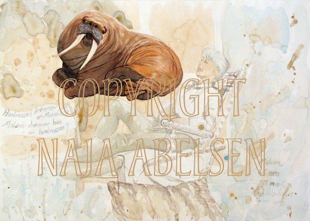 The Walrus dreams Malene - Malene Dreams the Walrus. Watercolour by Naja Abelsen. Original for sale. HUMANIMAL - www.123hjemmeside.dk/NajaAbelsen. Available as A3-photoprint 400 DKK / 54 Euro.