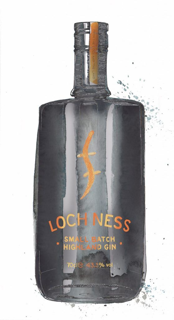 Loch Ness Gin Bottle Watercolour Illustration. Click the 'visit' link to commission your own choice of gin illustrations