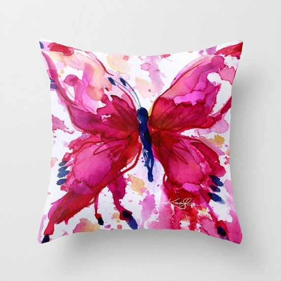 "Butterfly Pillow - Pink Watercolor art from Original abstract painting ""Butterfly Joy No. 7""  by Kathy Morton Stanion  EBSQ"