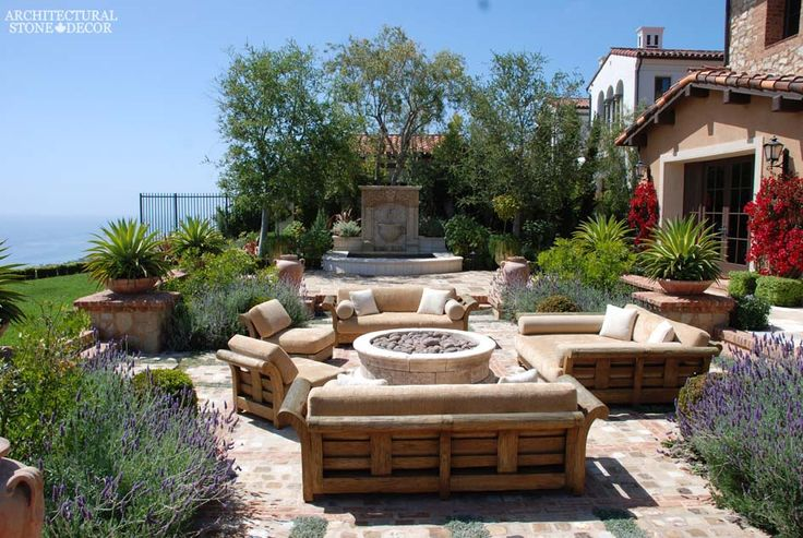 #tuscan #style #villa #reclaimed #limestone #flooring #barre #gray #wall #fountain #firepit #canada #architectural #stone #decor #home #design #interior #architecture #backyard