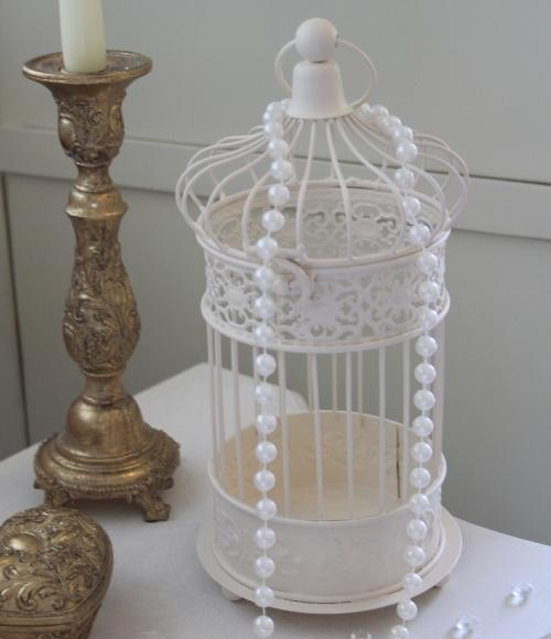 Cream freestanding ornamental birdcage