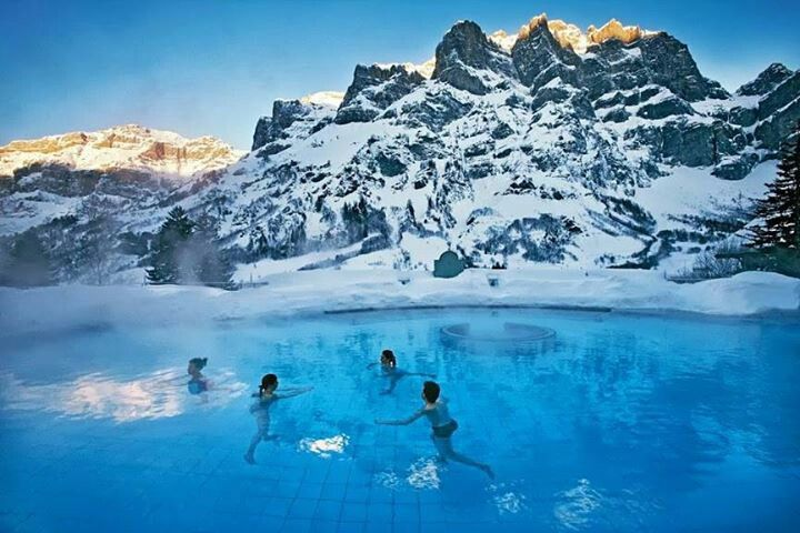 Swimming in the lakes of Switzerland.