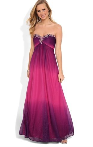 Deb Shops Strapless Long #Prom #Dress with Ombre and Chunky Stone Bodice $139.90