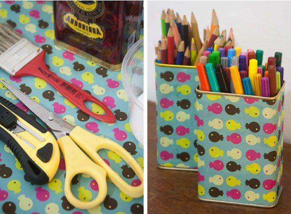beplakken met inpakpapier: pennenhouder