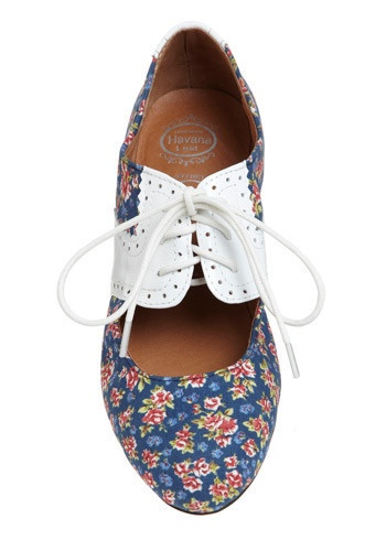 sweet floral peep-toe oxford