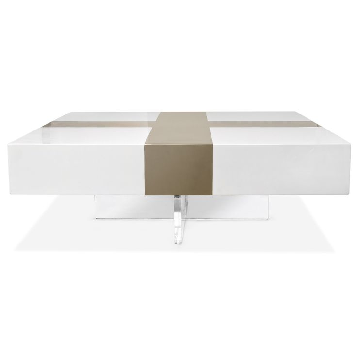 Jonathan Adler Coffee Table White Lacquer With Gold Reflective Plus On A Lucite Base 1750