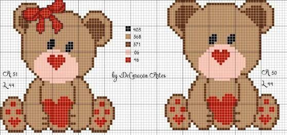 Resultado de imagem para ursinhos em ponto cruz