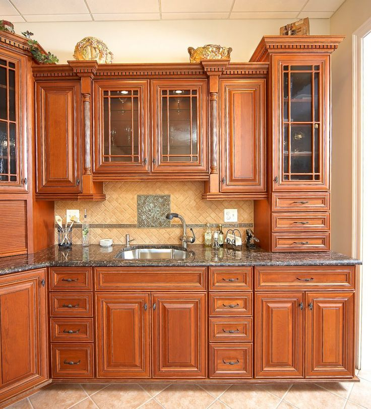 kitchen with brown cabinets sapphire blue royal brown granite globalgranite 22199
