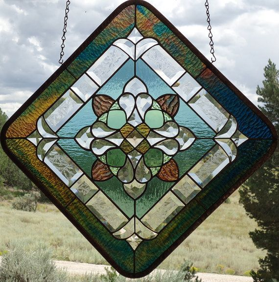 "Stained Glass Window Panel"" KALEIDOSCOPE"" beveled glass, hand blown glass, hand poured & rolled glasses, glue chiped bevels, suncatcher,"