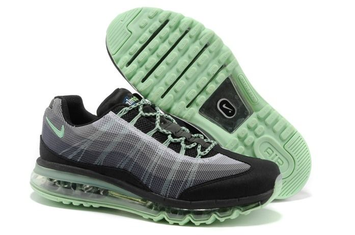 2014 New Nike Air Max 95 360 Mens Shoes Wire Drawing Black Grey