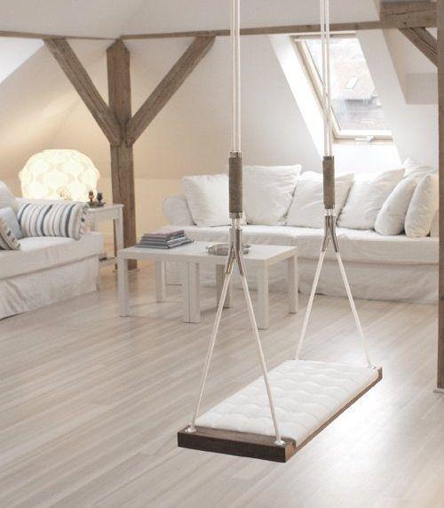 <3: Interior Design, Decor, Ideas, Living Rooms, Indoor Swing, Dream House, Livingroom, Swings, Space
