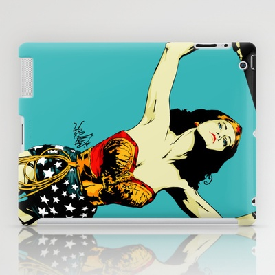 Amazonian Wonder iPad Case by Vee Ladwa - $60.00  Lynda Carter's Wonder Woman adaptation from the 70's TV Show coming to save the day! A piece inspired by a friend and a sketch.