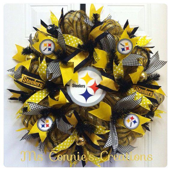 Pittsburgh Steelers Deco Mesh Wreath on Etsy, $60.00