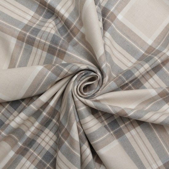100% Cotton Tartan Faux Wool Upholstery Fabric Natural