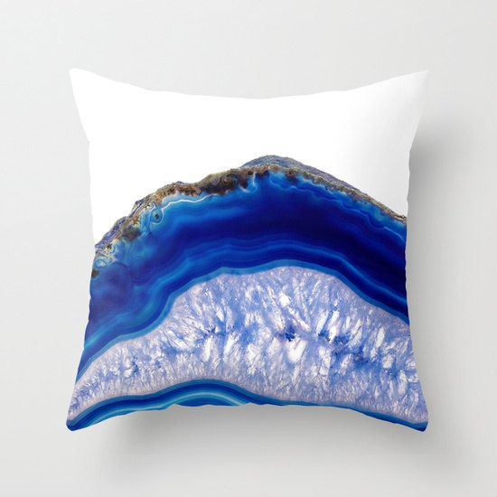 Blue agate Pillow blue agate slice pattern Pillow by HuntleighCo