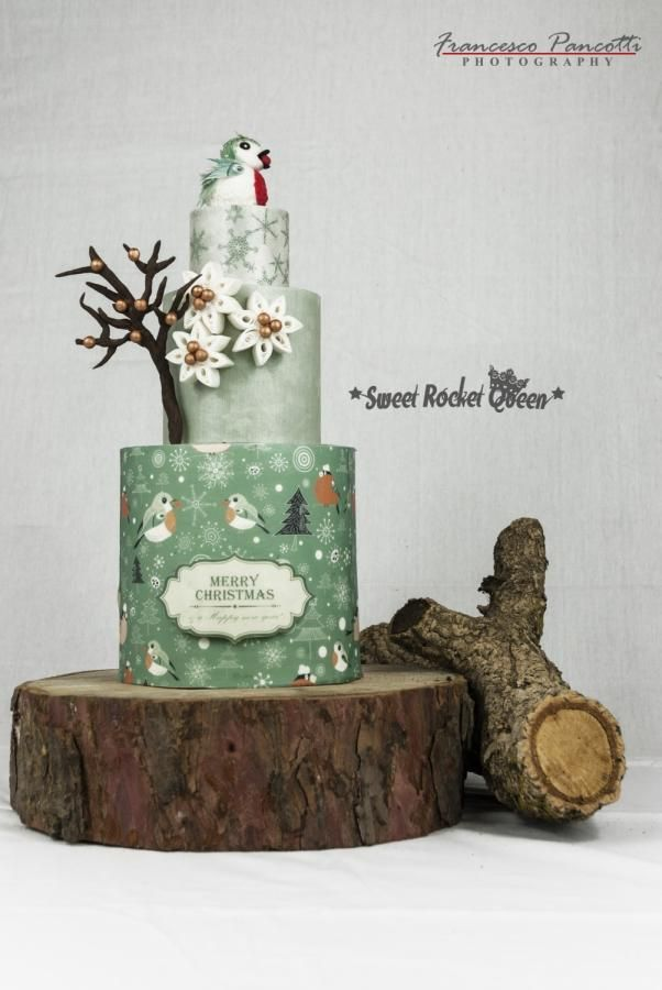 Merry Christmas Bird Cake - Cake by Sweet Rocket Queen (Simona Stabile)