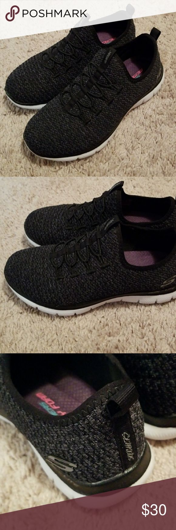 Slip on Sneaker Skechers Slip on bungee cord memory foam sneakers.  Like new condition , worn maybe twice, very soft and comfortable. Smoke Free Environment. Skechers Shoes Athletic Shoes