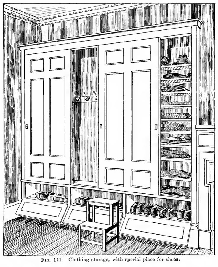 """Clothing Storage--bedroom built-in from """"Housewifery: A Manual and Text Book of Practical Housekeeping,"""" by Lydia Ray Balderston (1919)."""