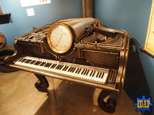 Steampunk Piano! this makes me wish that I knew how to play the piano. Why not steampunk a keyboard synthesizer with speakers to look similar and save on cost? Built in metronome, clock, and light? Yes please.