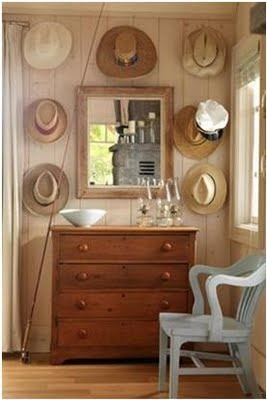 Hats above dresser