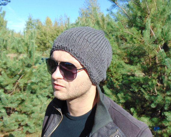 Dark Brown Mens Hat Winter Cap Wool Hat Teenager by MaddaKnits
